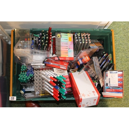 33 - Large Box of assorted Brand New Pens...