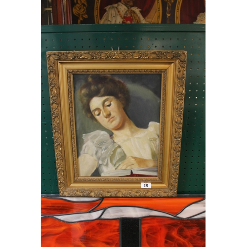 18 - Oil on Board of a Young Woman unsigned mounted in Gilt Gesso frame...