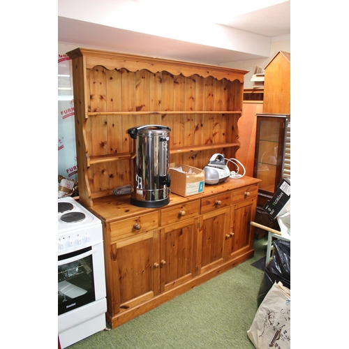 48 - Large Pine Kitchen dresser with plate rack over cupboard and drawer base...