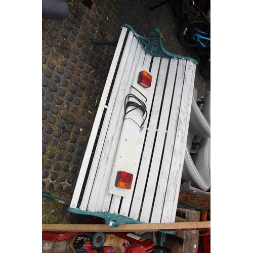11 - Slatted garden bench with metal painted pierced ends...