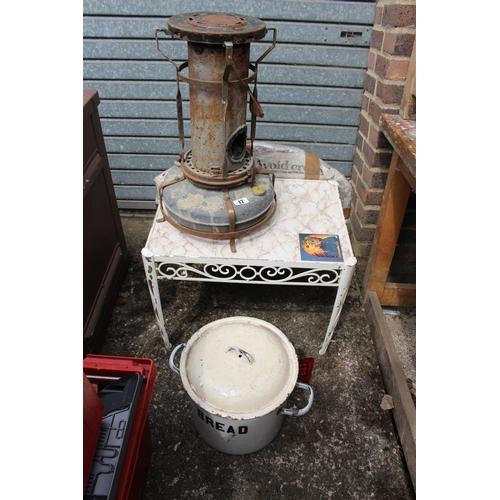 17 - Vintage Enamel Bread Crock, gilt framed mirror, Paraffin lamp and a Table...