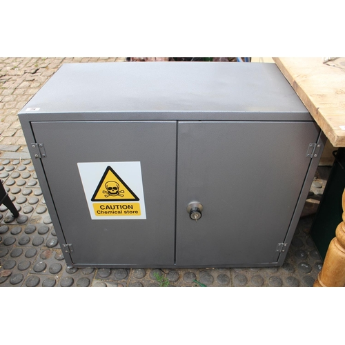 28 - Metal 2 Door Chemical Cabinet with locked front...