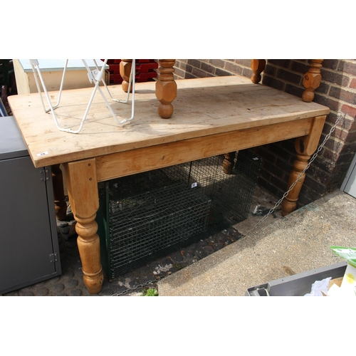 29 - Large Pine Farmhouse table on turned supports...