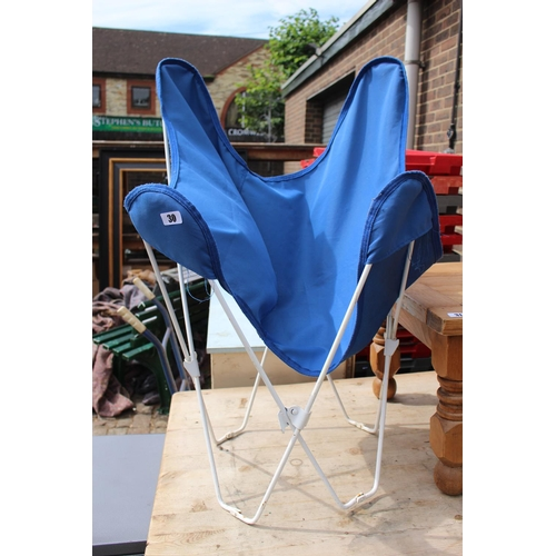 30 - Folding Blue Canvas wire framed Chair...