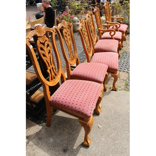 33 - Set of 6 Carved Back Dining chairs with upholstered seats...
