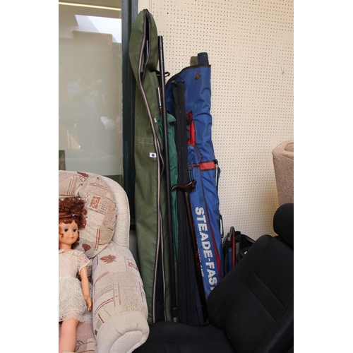 46 - Large collection of assorted Fishing Rods and Nets...