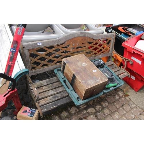 15 - Metal backed slatted Bench...