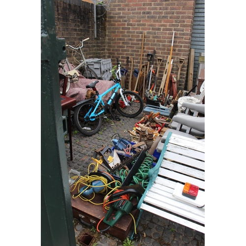 13 - Large collection of garden and hand tools inc chisels, plains and lawn mower...