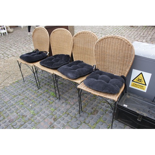 34 - 4x cane garden dining chairs with cushions...