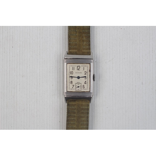 Jaeger Le Coultre & Co Reverso 17 Jewel Late 1930's steel rectangular, serial number 16191 on non JLC strap 12.5mm case