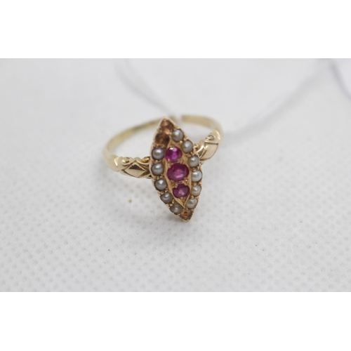 Ladies Victorian Ruby & Seed Pearl set boat shaped ring 4.1g total weight