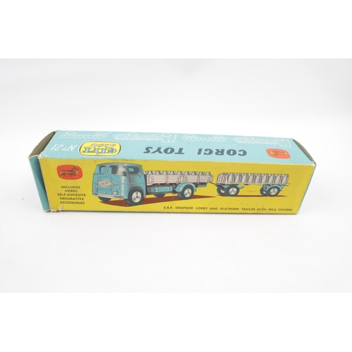 3 - Boxed Corgi Toys ERF Dropside Lorry and Platform trailer with Milk churns No 21 Gift Set...