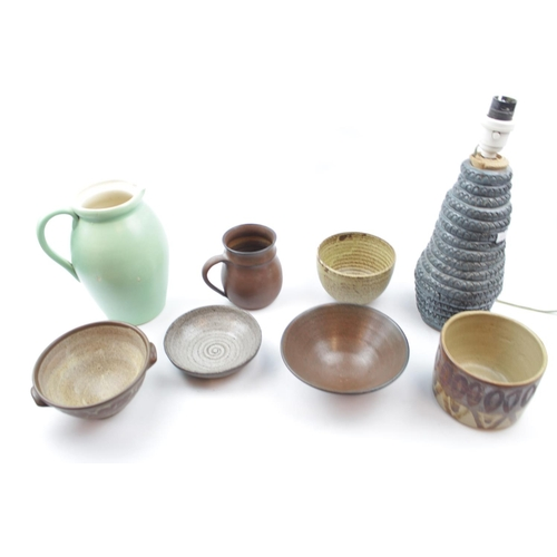 30 - Good collection of 20thC Studio Pottery inc. Lamp Base, Ewer, rice bowls etc...