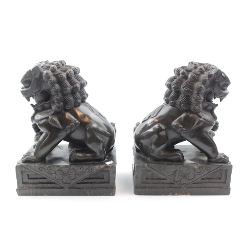35 - Pair of Good Quality Chinese Hand carved Hard stone Dogs of Foe 23cm in Height...