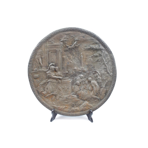 36 - 19thC Circular Cast plaque of a classical scene 27cm in Diameter (No Foundry mark)...