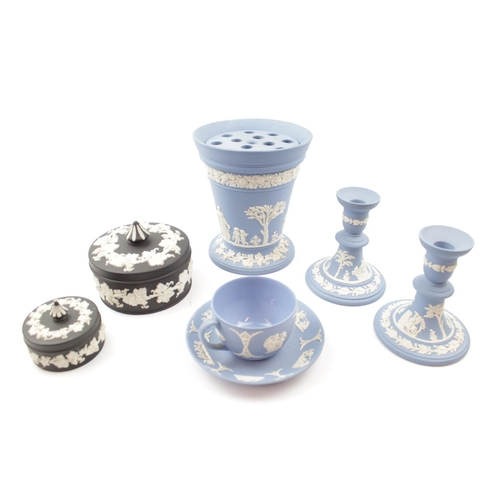 43 - Collection of Pale Blue & Black Basalt Wedgwood Jasperware inc. Flower holder, Candlestick etc...