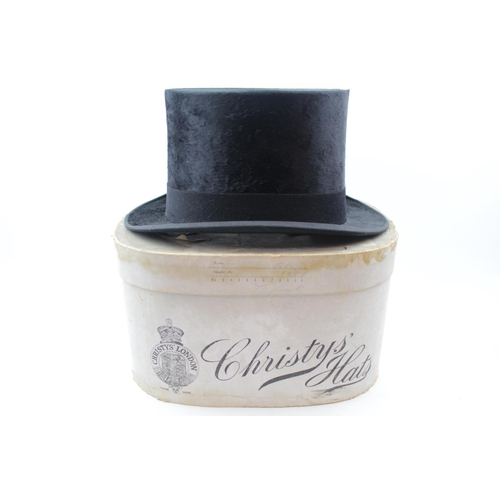 49 - Boxed Christys of London Moleskin Top Hat retailed by Everett & Sons Hatters of Ipswich Colchester...