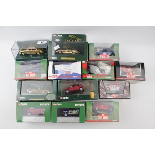 11 - Collection of Corgi Mini Mania (9) Three Gold Plated Jaguars XK120, E Type, MK11 and a boxed Mini Re...