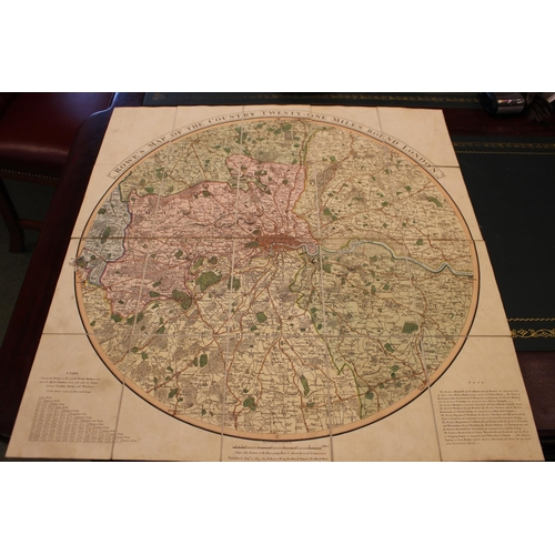 50d - ROWE (R.) Rowe's Map of the Country Twenty-One Miles Round London 1806 Map & Late 19thC Edward Stanf...