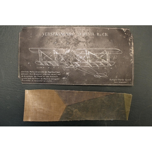 50e - World War One Aircraft data plate/tension diagram, 'Verspannungs-Schema. Ru CIV. Mit Gehobenen Flach...