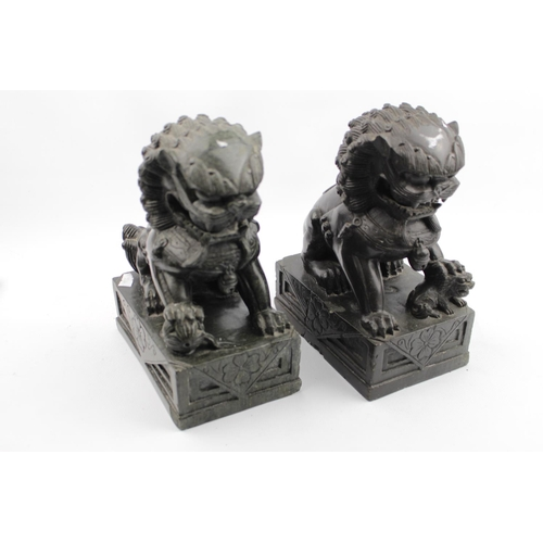 28 - Pair of Good Quality Chinese Hand carved Hard stone Dogs of Foe 23cm in Height...