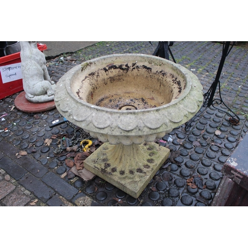 8 - Large Garden Urn planter with square base...