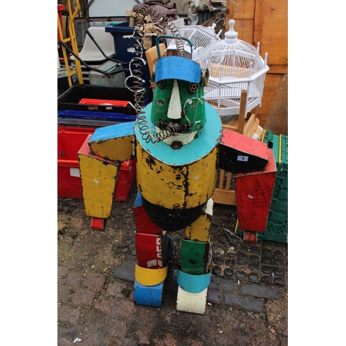 Interesting Metal Robot Figure, handmade from Old Oil Drums. 145cm in Height