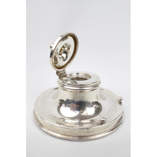 Good Quality Capstan Silver Inkwell with clear well Birmingham 1912