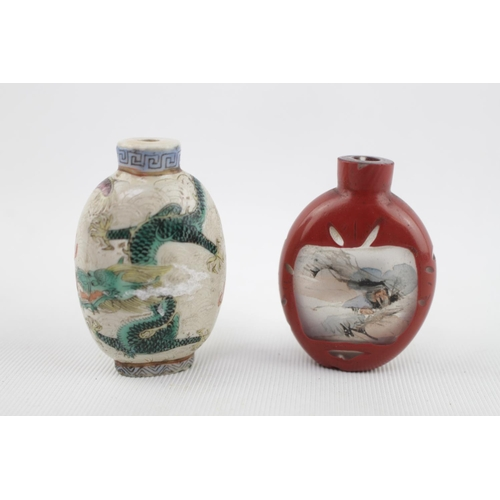 19thC Porcelain Chinese Dragon decorated Snuff bottle with Greek key neck and a Glass overlay inside painted snuff bottle with landscape decoration