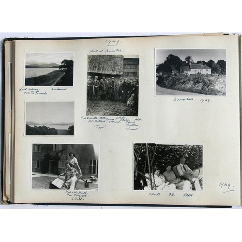 38 - A mid 20th century photograph album including photos of European holiday scenes and Scottish hunting...