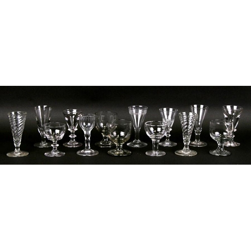 28 - A quantity of 18th / 19th century wine glasses and similar glasses....