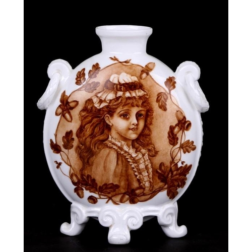 35 - A Derby vase decorated with portrait panels of young girls, 19cms (7.5ins) high....