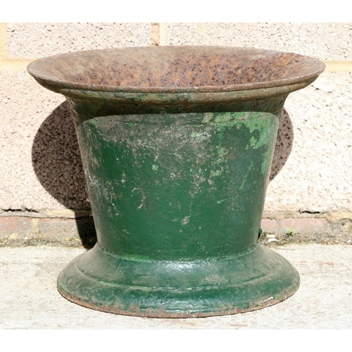 8 - A large George III green painted iron mortar, 38cms (15ins) diameter....