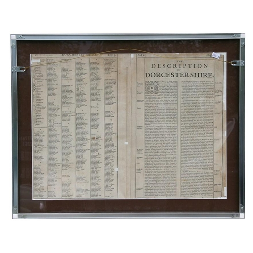 47 - An antique hand-coloured map of Dorsetshyre, framed & glazed, 51 by 38cms (20 by 15ins).