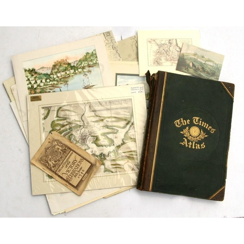 48 - A group of Admiralty maps; together with unframed 19th century maps, watercolours, prints, The Times...