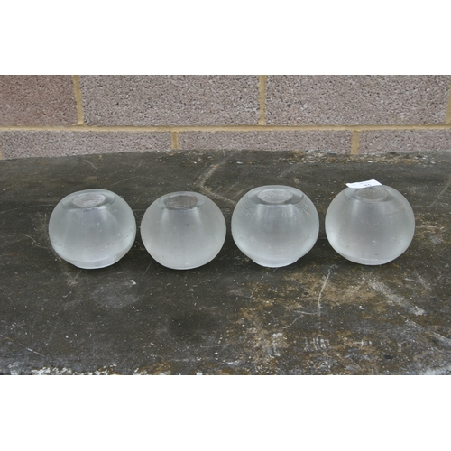 53 - A matching set of four glass match strikers from an Officer's mess, 7cms (2.25ins) high (4).