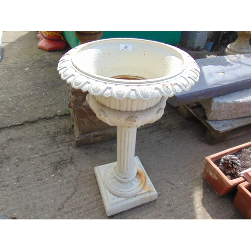 45 - White Metal urn on stand