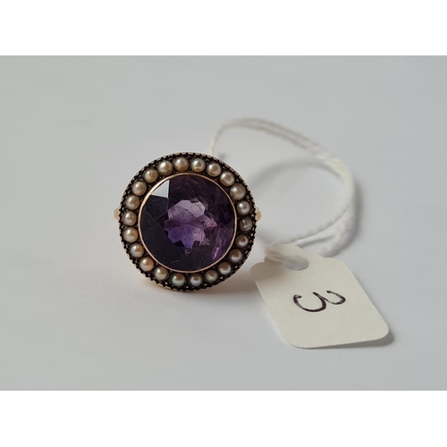 3 - An amethyst & pearl cluster ring set in gold - size L - 6.2gms