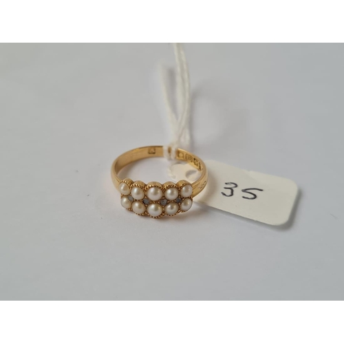 35 - AN ANTIQUE RING SET WITH PEARLS & ROSE DIAMOND IN 18CT GOLD - MARKED B'HAM 1905 - size K