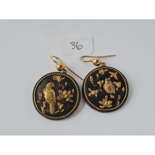 36 - A PAIR OF VICTORIAN SHOKUDO EARRINGS WITH 15CT GOLD EAR TOPS