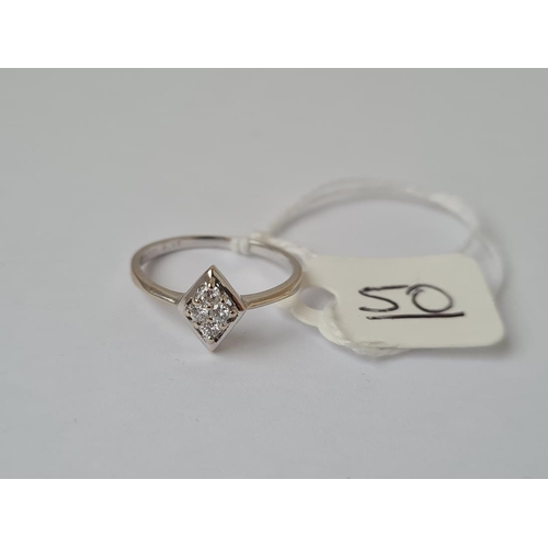50 - A white gold Lozenge shaped 4 stone diamond ring in 18ct gold - size K - 1.8gms