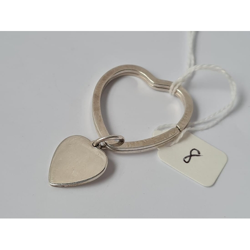 8 - A Tiffany silver heart shaped key ring
