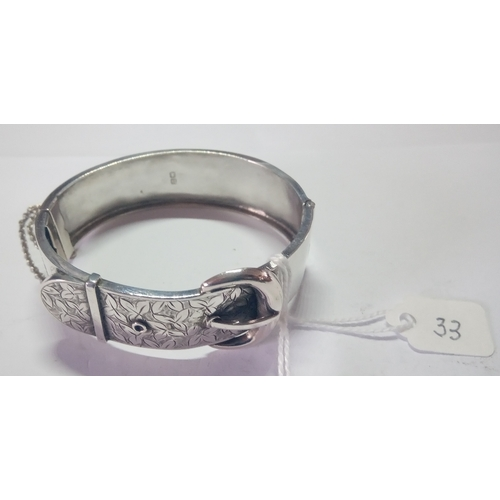 33 - An antique Victorian silver belt design bangle - marked Chester 1885