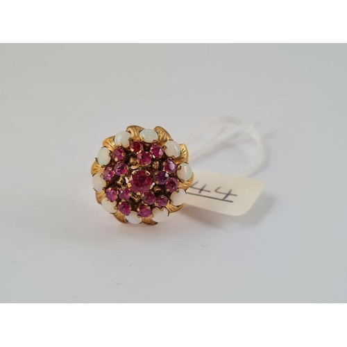 44 - A ruby & opal pineapple style ring in 14ct gold - size M - 5.8gms