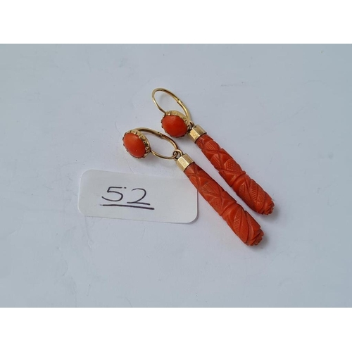 52 - EARLY VICTORIAN GOLD & CARVED CORAL EARRINGS