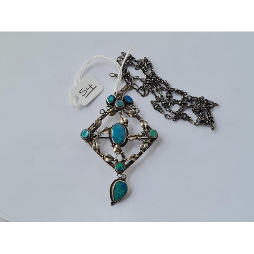 54 - A LARGE SILVER & OPAL ARTS & CRAFTS PENDANT & CHAIN