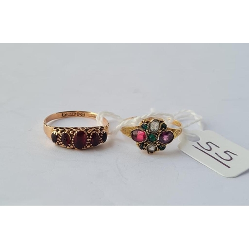 55 - A Victorian cluster ring (B'ham 1870) in 12ct gold - size K  &  a garnet ring (Chester 1912) - size ...