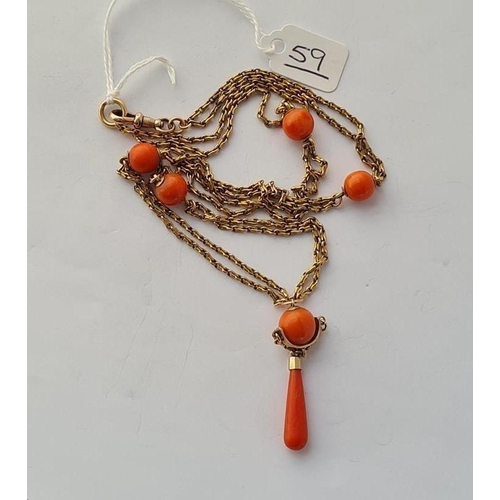 59 - A VICTORIAN GOLD & CORAL PENDANT NECKLACE IN 15CT GOLD (TESTED) - 21.9gms