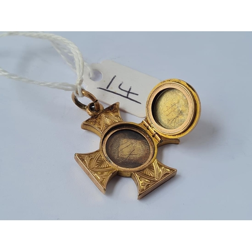 14 - A Victorian unusual Maltese cross hair locket with opening panel set in gold - unmarked - 5.9gms