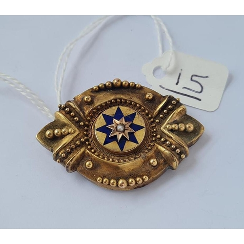 15 - A Victorian gilt & enamel target brooch with central pearl - 8.3gms
